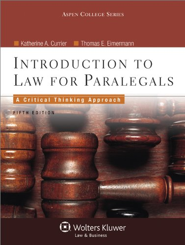 Introduction to Law for Paralegals, Fifth Edition 9780735598751