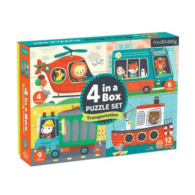 Mudpuppy Transportation 4-in-a-Box Puzzles, Ages 2-5, Each Measures 6 x 8 - Chunky Puzzles with 4, 6, 9 and 12 Pieces - Difficulty Level Grows with Ch
