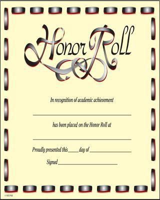 Honor Roll Award Certificate 9780742403284