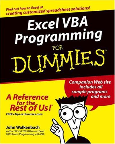 Excel VBA Programming for Dummies 9780764574122