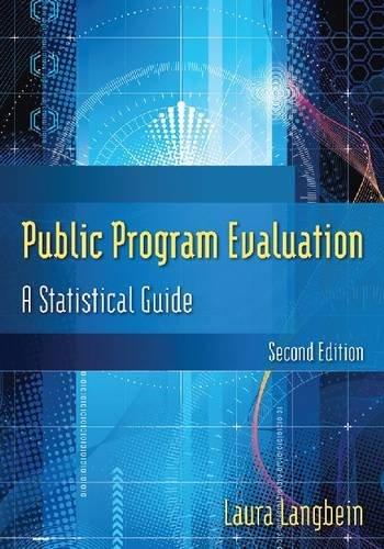 Public Program Evaluation: A Statistical Guide 9780765626127