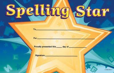 Spelling Star Certificate 9780768225648