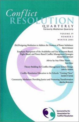 Conflict Resolution Quarterly, No. 2, 2001 9780787958138
