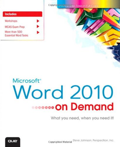 Microsoft Word 2010 on Demand 9780789742810