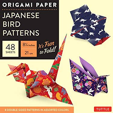 """Origami Paper - Japanese Bird Patterns - 8 1/4"""" - 48 Sheets: Perfect for Small Projects or the Beginning Folder (Tuttle Origami Paper)"""