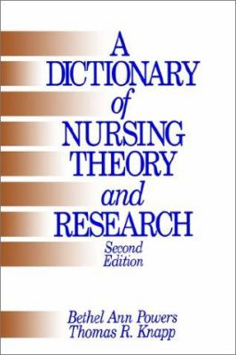 A Dictionary of Nursing Theory and Research 9780803956261