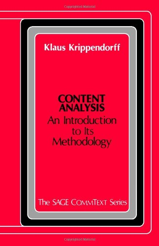 Content Analysis: An Introduction to Methodology 9780803914988