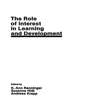 The Role of Interest in Learning and Development 9780805807189