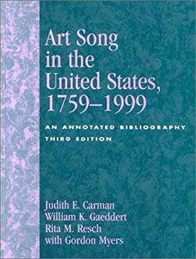 Art Song in the United States, 1759-1999: An Annotated Bibliography 9780810841376