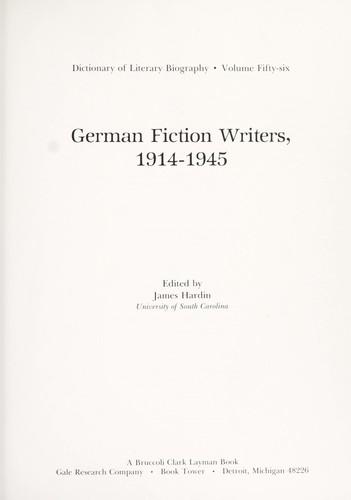 Dictionary of Literary Biography: German Fiction Writers 1914-1945 - Hardin, James