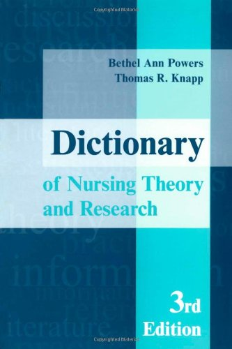 A Dictionary of Nursing Theory and Research 9780826117748