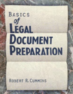 Basics of Legal Document Preparation 9780827367999