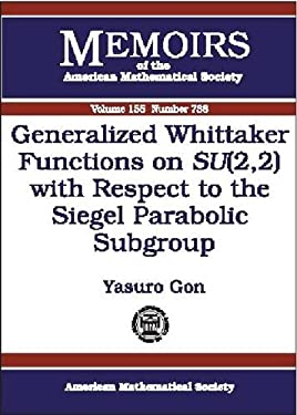Generalized Whittaker Functions on Su(2,2) with Respect to the Siegel Parabolic Subgroup - Gon, Yasuro