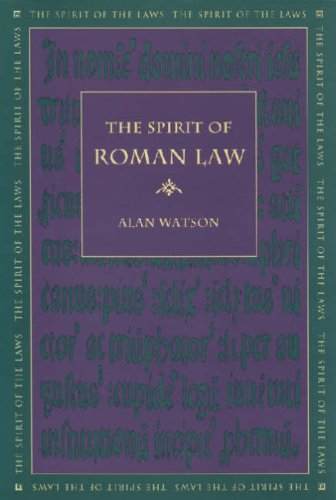 The Spirit of Roman Law 9780820330617
