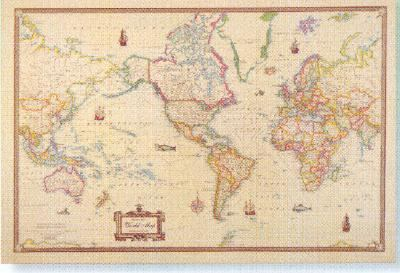 Antique Style World Map By American Map Corporation - Map of the world antique style