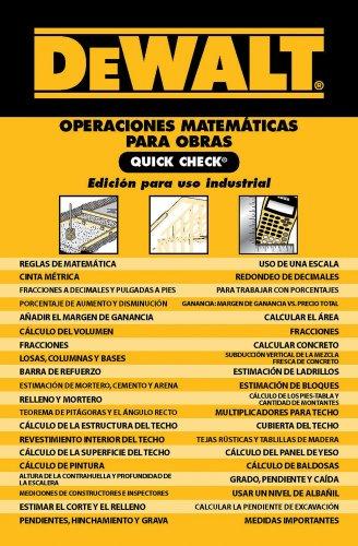 Dewalt Operaciones Matematicas Para Obras Quick Check: Edicion Para Uso Industrial