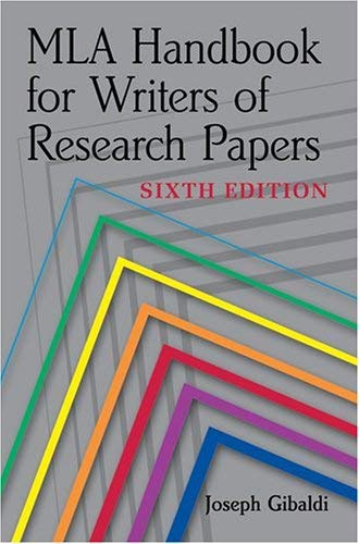 MLA Handbook for Writers of Research Papers 9780873529860