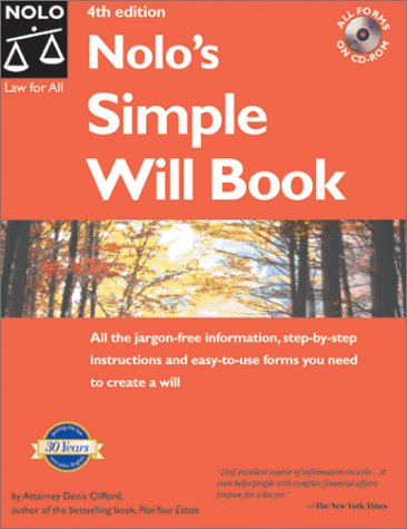 Nolo's Simple Will Book [With CDROM] 9780873377126