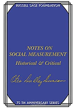 Notes on Social Measurement: Historical and Critical