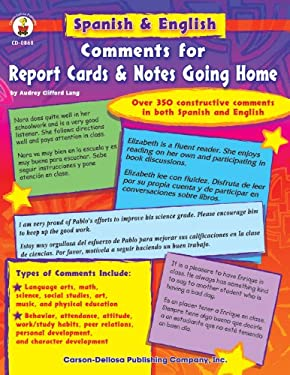 Spanish & English Comments for Report Cards & Notes Going Home, Grades K - 5 9780887242717