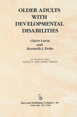 Older Adults with Developmental Disabilities 9780895031884