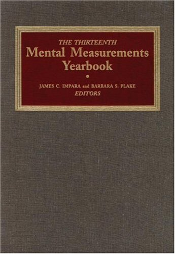 The Thirteenth Mental Measurements Yearbook 9780910674546