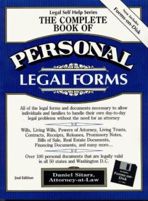 The Complete Book of Personal Legal Forms (3.5 IBM with Book): Second Edition with Forms-On Disk 9780935755282