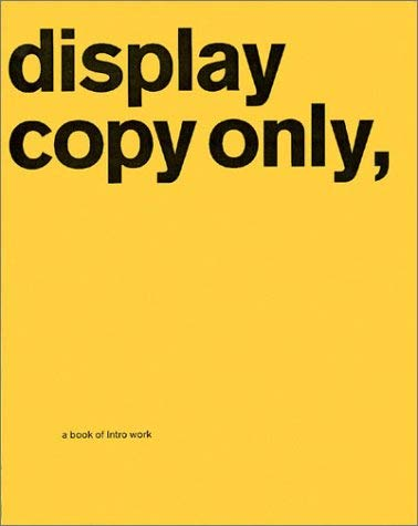Display Copy Only,: A Book of Intro Work 9780970877932