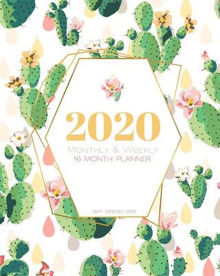 2020 16 Month Monthly & Weekly Planner (Sept 2019 - Dec 2020): Succulent Cactus Cover (Succulent 2020)