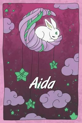Aida: personalized notebook   sleeping bunny on the moon with stars   softcover   120 pages   blank   useful as notebook, dream diary, scrapbook, jour