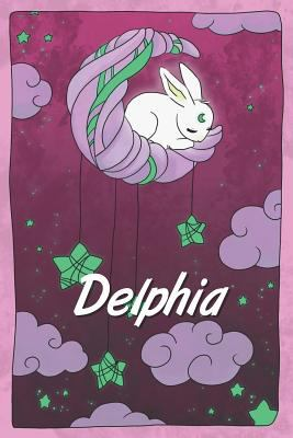 Delphia: personalized notebook   sleeping bunny on the moon with stars   softcover   120 pages   blank   useful as notebook, dream diary, scrapbook, j