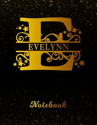 Evelynn Notebook: Letter E Personalized First Name Personal Writing Notepad Journal | Black Gold Glittery Pattern Effect Cover | Wide Ruled Lined ...