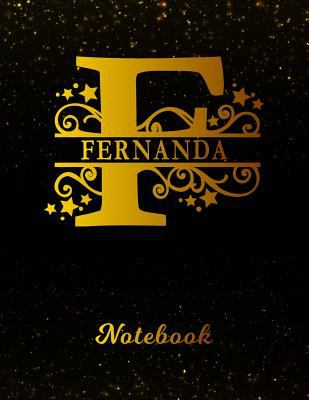 Fernanda Notebook: Letter F Personalized First Name Personal Writing Notepad Journal | Black Gold Glittery Pattern Effect Cover | College Ruled Lined