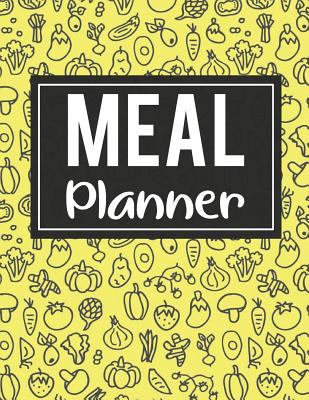 Meal Planner: 52 Week Food Planner / Diary / Log / Meal Prep Journal with Grocery List Pad and Foods Background (8.5 x 11 Inches - 53 Pages)