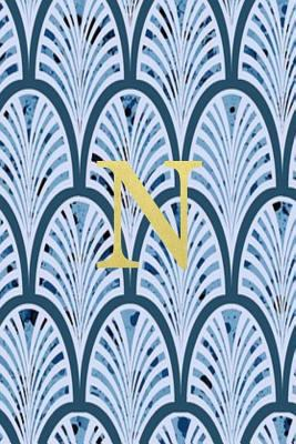 N: Blue art deco print with gold lettering initial notebook jotter