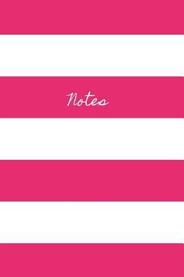 Notes: Classic Medium Lined Journal/Diary for Everyday Use Hot Pink and White Stripes Fun Design