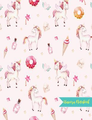 Unicorn Notebook: Cute Kawaii Journal and Diary Large 8.5 x 11 Matte Cover with Blank Lined Ruled White Paper Interior - Perfect for School, Gifts for