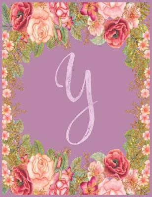 Y: Monogram Y Journal with the Initial Letter Y Notebook for Girls and Women, Pink Mauve Floral Design with Cursive Fancy Text