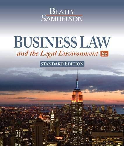 Business Law and the Legal Environment: Standard 9781111530600