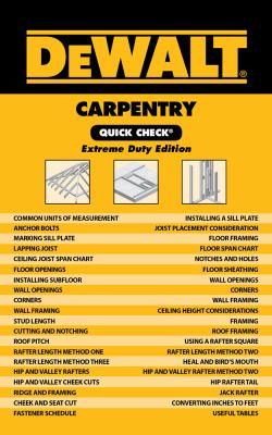 Dewalt Carpentry Quick Check 9781111135874
