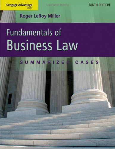 Fundamentals of Business Law: Summarized Cases 9781111530624