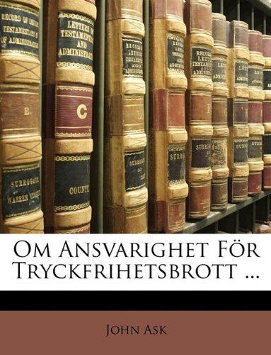 Om Ansvarighet Fr Tryckfrihetsbrott ... 9781147159295