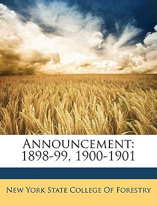 Announcement: 1898-99, 1900-1901 9781149750728