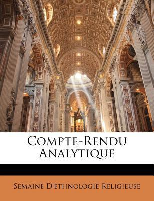 Compte-Rendu Analytique 9781172865215