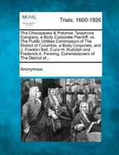The Chesapeake & Potomac Telephone Company, a Body Corporate Plaintiff, vs. the Public Utilities Commission of the District of Col 17791983