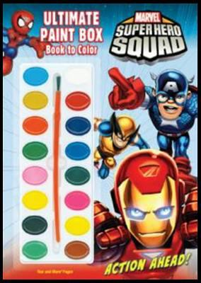 Marvel Superhero Squad: Action Ahead! Ultimate Paint Box Book to Color [With Paint Brush and Paint] 9781403764072