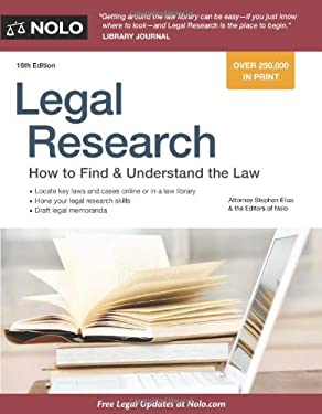 Legal Research: How to Find & Understand the Law 9781413316186