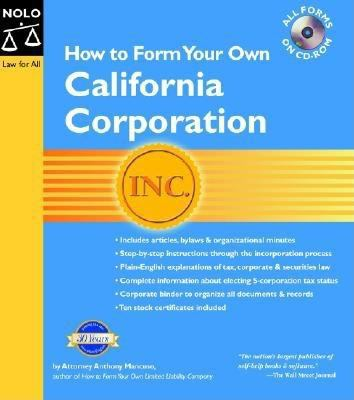 How to Form Your Own California Corporation (Binder W/CD) [With CDROM] 9781413301489