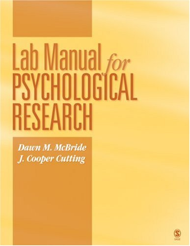 Lab Manual for Psychological Research 9781412962858