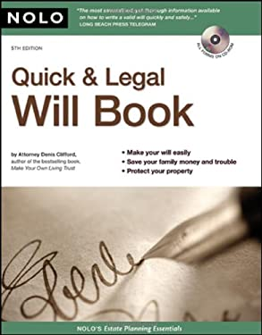Quick & Legal Will Book [With CDROM] 9781413308617